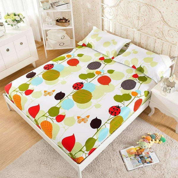 PinKart-USA Online Shopping 100% Cotton Modern Bed Sheets Colorful Cartoon Printing Bedding Fitted Sheet Simply Elastic