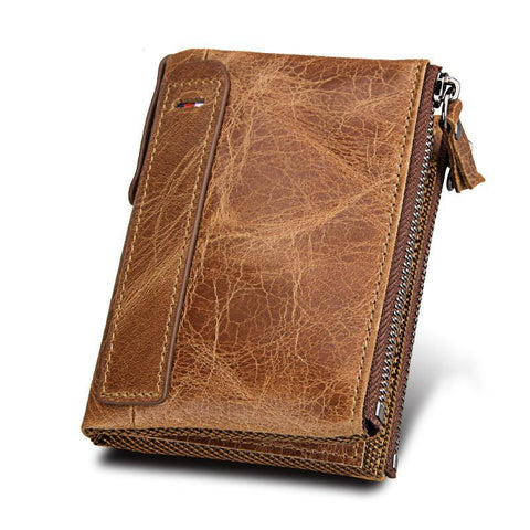 PINkart-USA Online Shopping 100% Genuine Leather Men Wallet Small Zipper Pocket Men Wallets Portomonee Male Short Coin Purse
