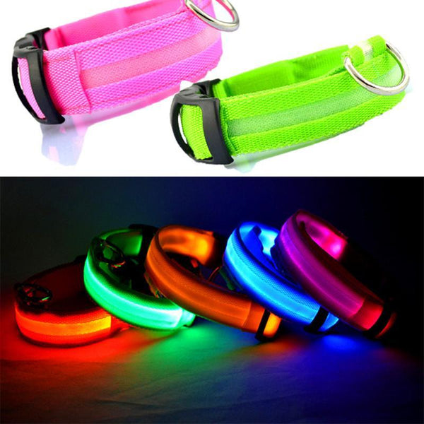 PINkart-USA Online Shopping 100Pcs/Lot Nylon Pet Led Dog Collar Night Safety Led Flashing Glow Led Pet Supplies Dog Cat Collar