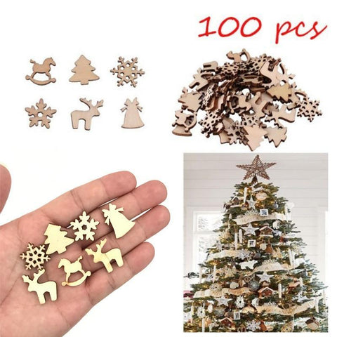 PINkart-USA Online Shopping 100Pcs Natural Wooden Diy Christmas Tree Decoration Hanging Ornaments Pendant Gifts Snow Flakes