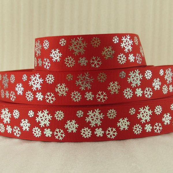 PinKart-USA Online Shopping 1014966001 David Accessories 7/822Mm Snowflake Christmas Printed Polyester Grosgrain Ribbon 10Yards,Diy