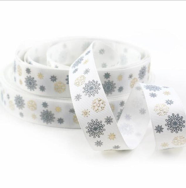 PinKart-USA Online Shopping 1044207001 David Accessories 7/822Mm Snowflake Christmas Printed Polyester Grosgrain Ribbon 10Yards,Diy