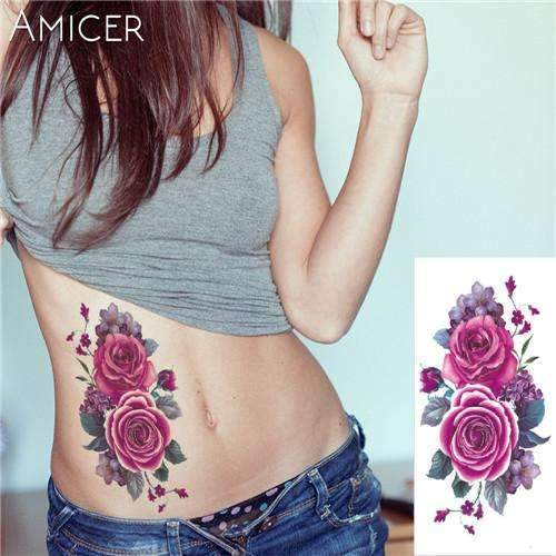 PinKart-USA Online Shopping 11 Rose Artificial Flowers Arm Shoulder Tattoo Stickers Flash Henna Tattoo Fake Waterproof Temporary
