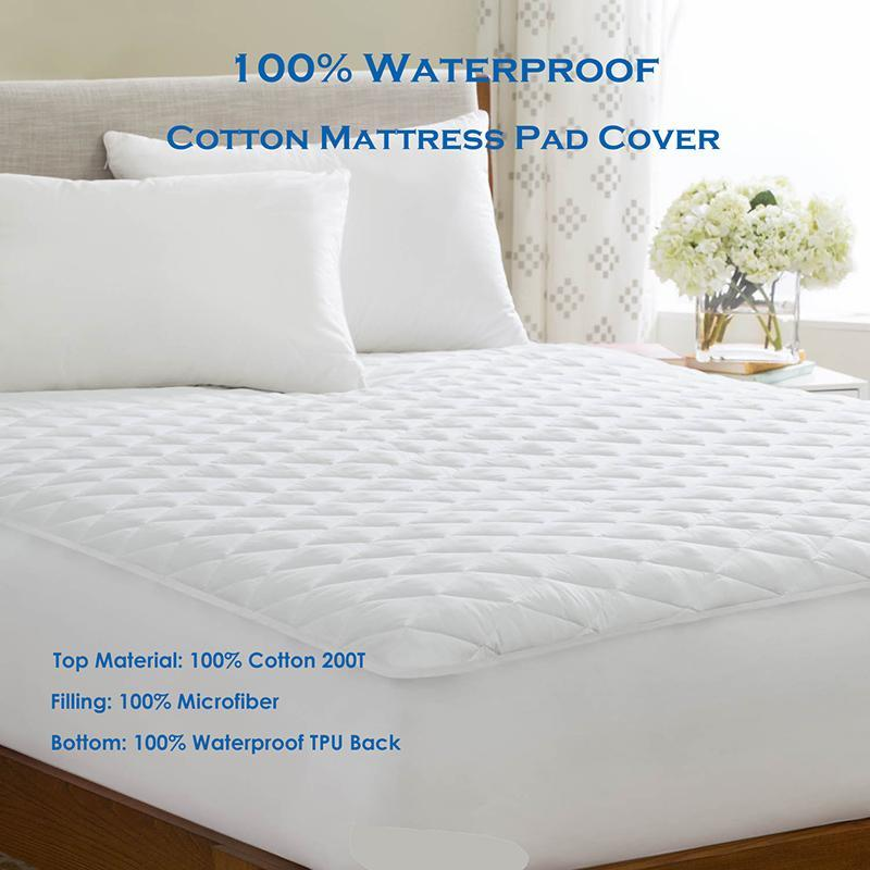 PINkart-USA Online Shopping 110X200Cm Quilted Waterproof Mattress Pad Cover Fitted Sheet Cotton Mattress Protector For Bed