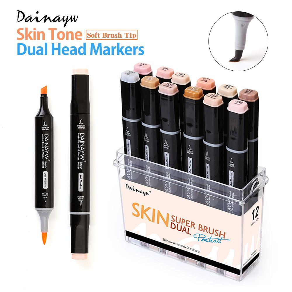 PINkart-USA Online Shopping 12 Colors Skin Tones Soft Brush Markers Set Alcohol Based Sketch Marker Pen For Manga Professional