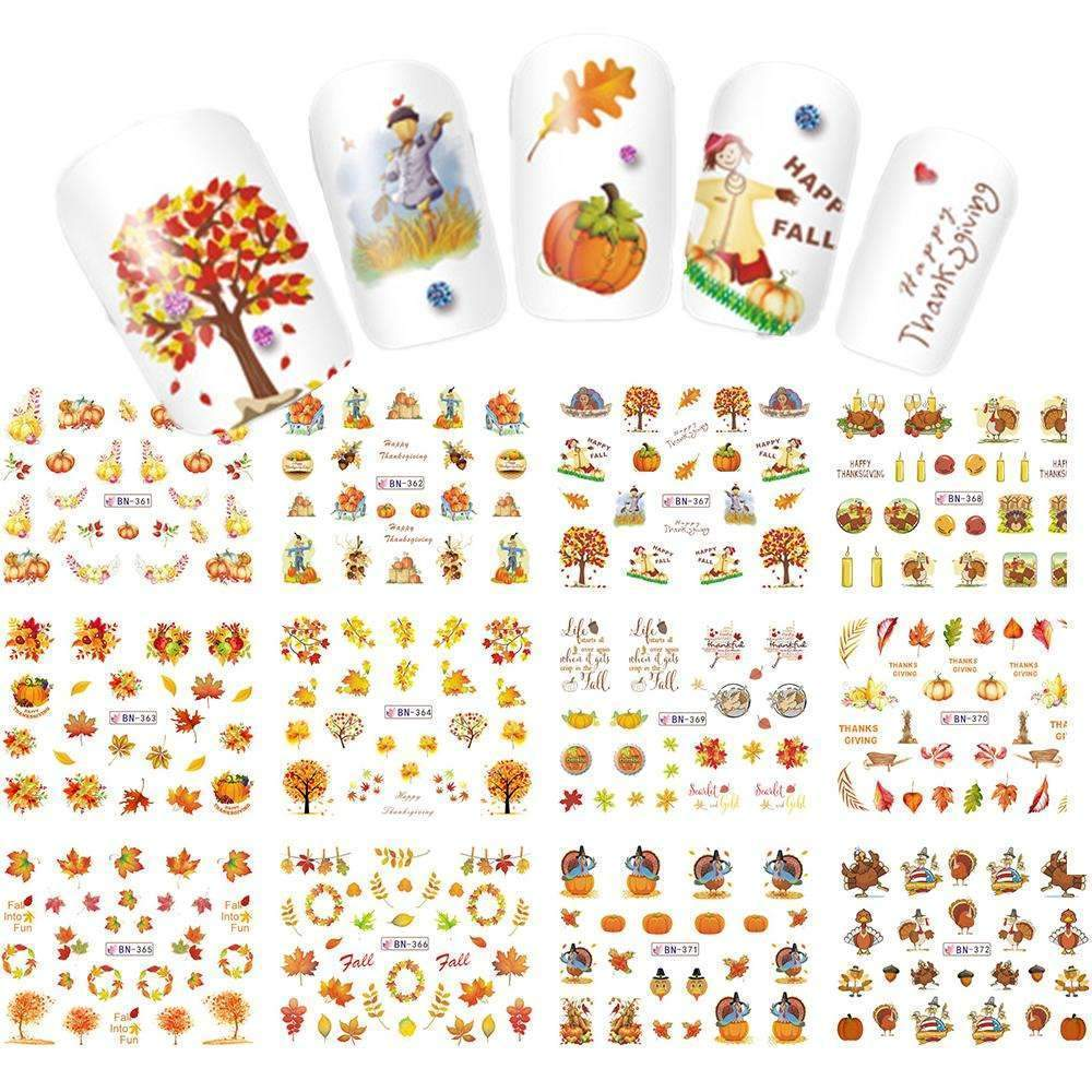 12 Designs In 1 Set Thanks Giving/Yellow Leave Design For Nail Art Decorations Water Transfer