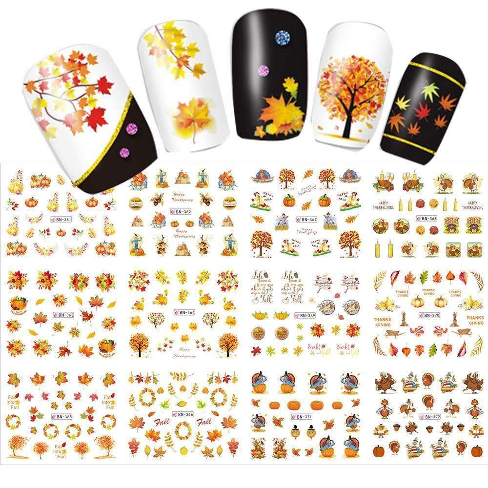 PinKart-USA Online Shopping 12 Designs In 1 Set Water Transfer Sticker Thanks Giving Theme Maple Leaf Design For Nail Art