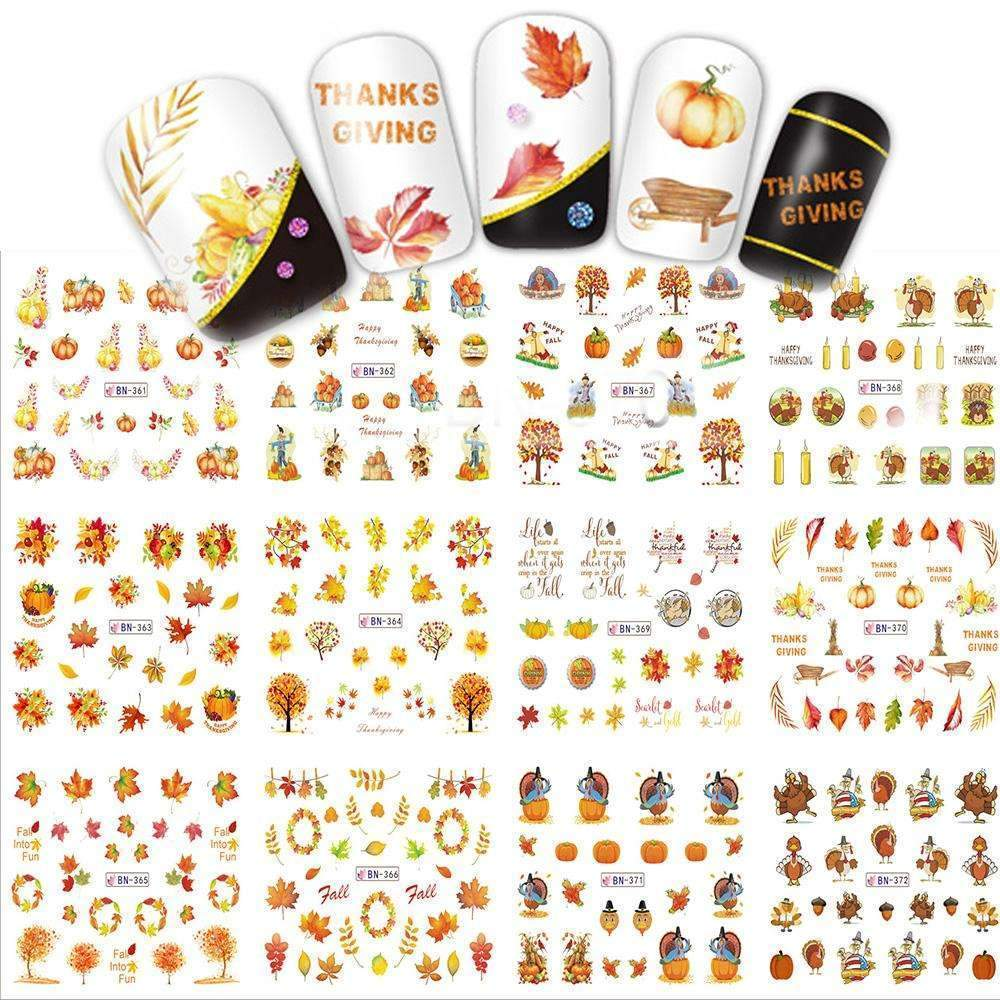 12 Designs Thanks Giving Christmas Yellow Leaf Pattern For Nail Art Nail Decorations Water Online Shopping PINkart.in