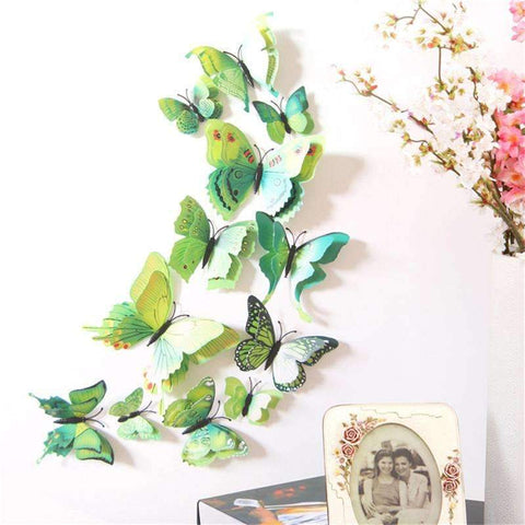 PinKart-USA Online Shopping 12 Pcs 3D Butterfly Wall Stickers Home Diy Decor Wall Decals For Living Room, Bedroom, Kitchen,