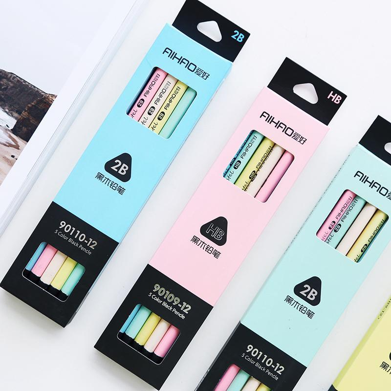 PINkart-USA Online Shopping 12 Pcs/Lot 5 Color Black & Pastel Pencil Wood Standard 2B Macaron Pencils For Drawing Stationery