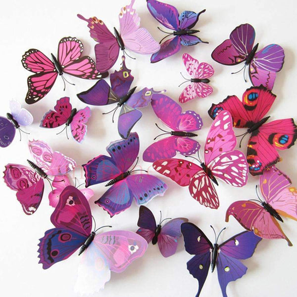 PinKart-USA Online Shopping 12 Pcs/Lot Pvc Butterfly Decals 3D Wall Stickers Home Decor Poster For Kids Rooms Adhesive To Wall