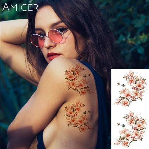 PinKart-USA Online Shopping 12 Rose Artificial Flowers Arm Shoulder Tattoo Stickers Flash Henna Tattoo Fake Waterproof Temporary