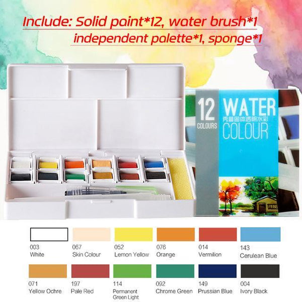 PINkart-USA Online Shopping 12Colors Superior 12 24 30 36 40Colors Pigment Solid Watercolor Paints Set Colored Pencils For Drawing