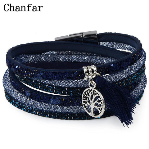 PINkart-USA Online Shopping 12Styles Multilayer Leather Tassel Bracelet Bohemian Feather Anchor Charms Magnetic Velvet Bracelet