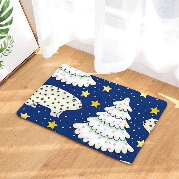 PINkart-USA Online Shopping 13 / 400mm x 600mm Hyha Xmas Mat Waterproof Anti-Slip Doormat Santa Claus Snow Carpets Bedroom Rugs Decorative Stair