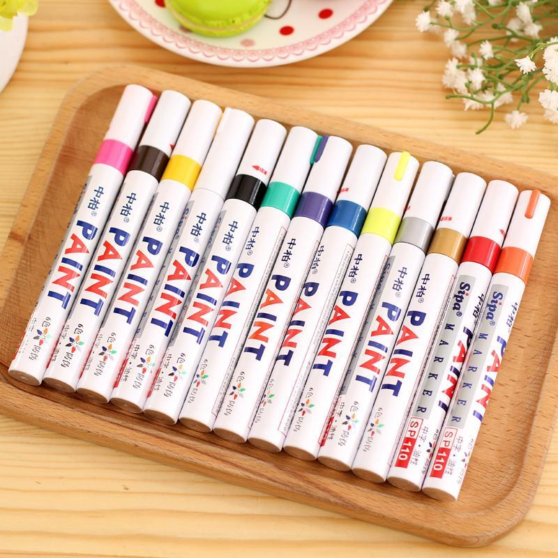 PINkart-USA Online Shopping 13 Colors Permanent Marker Pen Colorful Waterproof Metal Oilly Fill Paint For School Diy Tyre Tire