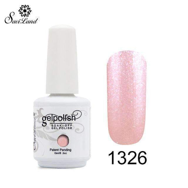PinKart-USA Online Shopping 1326 1Pcs Semi Permanent Gel Nail Polish 3D Professional Glitter Soak Off Uv Led Gel Lacquer
