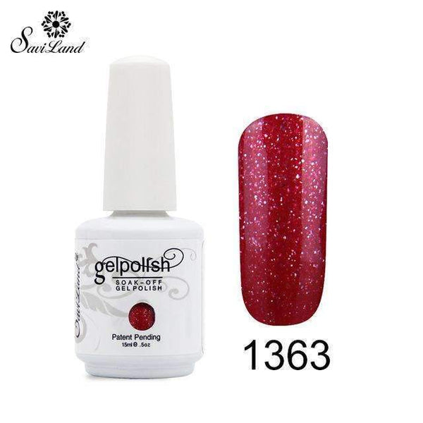 PinKart-USA Online Shopping 1363 1Pcs Semi Permanent Gel Nail Polish 3D Professional Glitter Soak Off Uv Led Gel Lacquer
