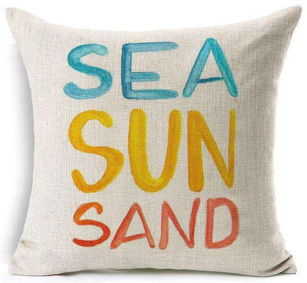 PinKart-USA Online Shopping 14 / 45x45 cm Hyha Funny Words Pillow Case Home 45X45 Cm Pillows Sea Sun Sand Style Pillowcases Home Pillows