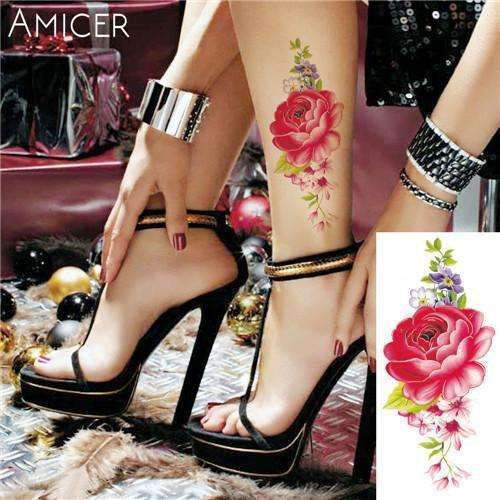 PinKart-USA Online Shopping 14 Rose Artificial Flowers Arm Shoulder Tattoo Stickers Flash Henna Tattoo Fake Waterproof Temporary