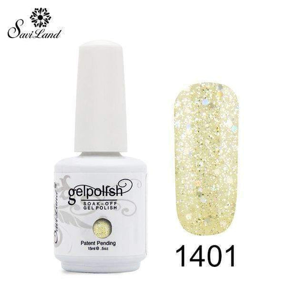 PinKart-USA Online Shopping 1401 1Pcs Semi Permanent Gel Nail Polish 3D Professional Glitter Soak Off Uv Led Gel Lacquer