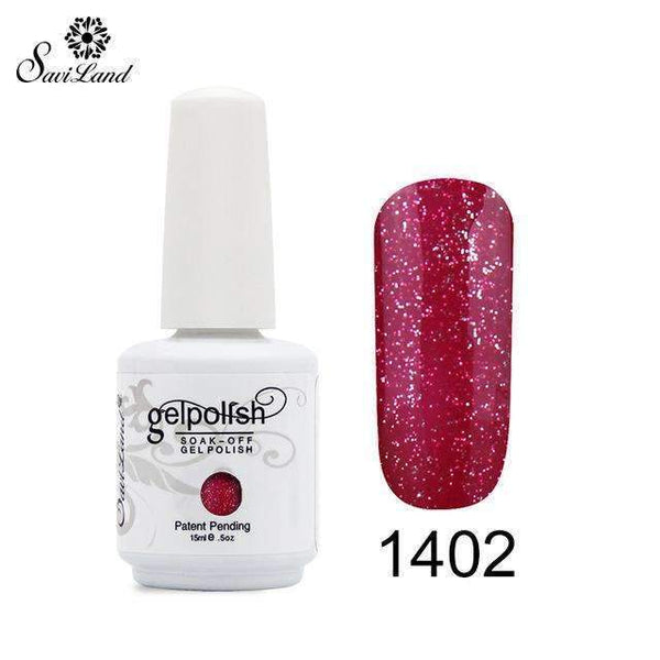 PinKart-USA Online Shopping 1402 1Pcs Semi Permanent Gel Nail Polish 3D Professional Glitter Soak Off Uv Led Gel Lacquer
