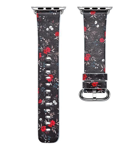 PINkart-USA Online Shopping 15 / 38mm Flower Gift Christmas Pattern Leather Strap For Apple Watch Band 42 38 40 44Mm Iwatch Series
