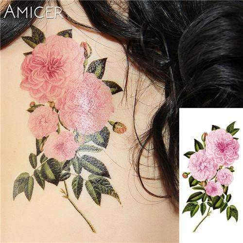 PinKart-USA Online Shopping 15 Rose Artificial Flowers Arm Shoulder Tattoo Stickers Flash Henna Tattoo Fake Waterproof Temporary