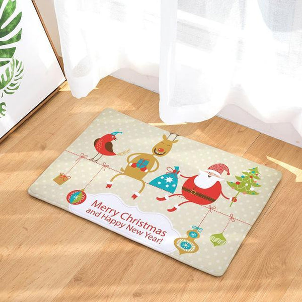 PINkart-USA Online Shopping 16 / 400mm x 600mm Hyha Xmas Mat Waterproof Anti-Slip Doormat Santa Claus Snow Carpets Bedroom Rugs Decorative Stair