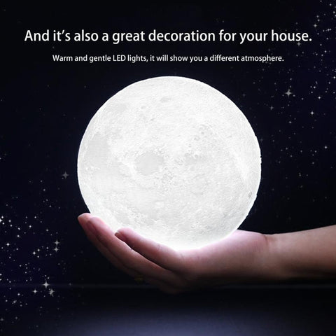 PINkart-USA Online Shopping 16 Colors Changing 3D Print Moon Lamp + Remote Control & Wooden Stand Changeable Night Lights
