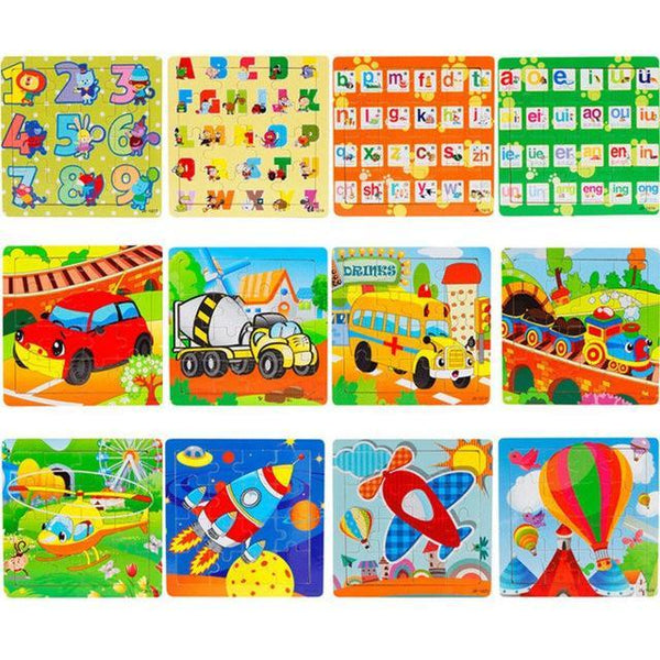 PINkart-USA Online Shopping 16 Pieces Puzzle 1 Children Kids Cute Wooden Jigsaw Learning Education Cartoon Animal Puzzle Developmental Baby