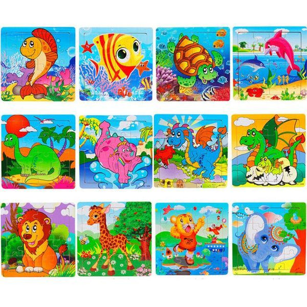 PINkart-USA Online Shopping 16 Pieces Puzzle 2 Children Kids Cute Wooden Jigsaw Learning Education Cartoon Animal Puzzle Developmental Baby