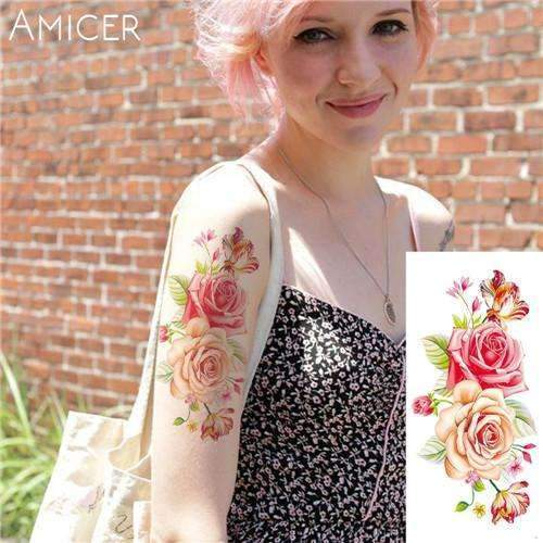 PinKart-USA Online Shopping 16 Rose Artificial Flowers Arm Shoulder Tattoo Stickers Flash Henna Tattoo Fake Waterproof Temporary