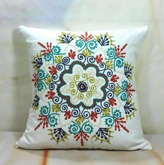 PinKart-USA Online Shopping 17 no filling Hot National Style Sofa /Carcushions Flowers And Fashion Pillows Decorate Hand-Embroidered