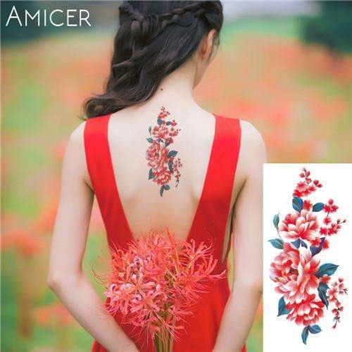 PinKart-USA Online Shopping 17 Rose Artificial Flowers Arm Shoulder Tattoo Stickers Flash Henna Tattoo Fake Waterproof Temporary