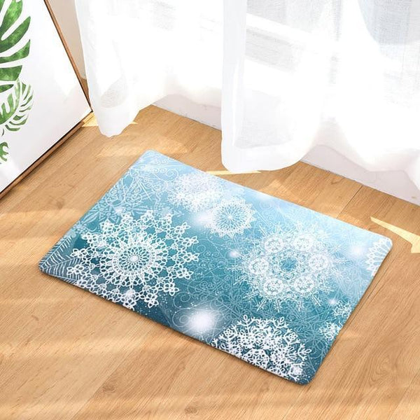PINkart-USA Online Shopping 18 / 400mm x 600mm Hyha Xmas Mat Waterproof Anti-Slip Doormat Santa Claus Snow Carpets Bedroom Rugs Decorative Stair