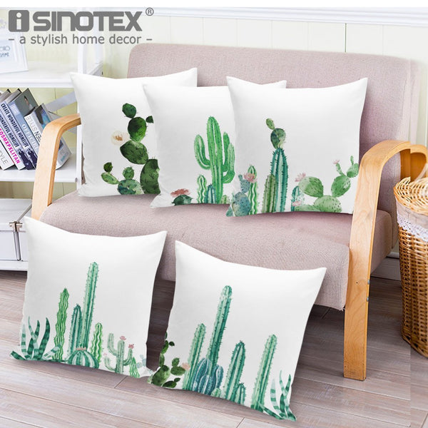 PinKart-USA Online Shopping 18'' Colorful Cactus Printed Cushions Cover Fashion Tropical Plant Decorative Throw Pillowcase