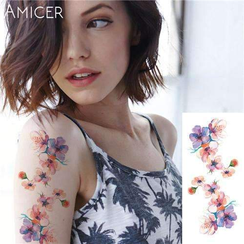 PinKart-USA Online Shopping 19 Rose Artificial Flowers Arm Shoulder Tattoo Stickers Flash Henna Tattoo Fake Waterproof Temporary
