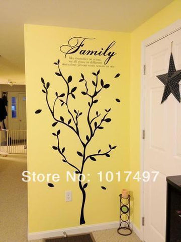 PinKart-USA Online Shopping 192Cm X 147Cm Family Large Tree Branches Vinyl Home Decoration Wall Stickers,Black