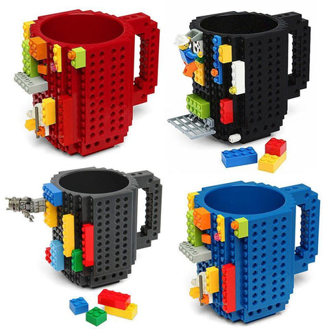 PINkart-USA Online Shopping 1Pc 12Oz Build-On Brick Mug Lego Type Building Blocks Coffee Cup Diy Block Puzzle Mug Portable
