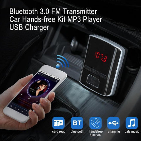 PINkart-USA Online Shopping 1Pcs Bluetooth 3.0 Fm Transmitter Car Hands-Free Kit Mp3 Player Usb Charger With Remote Control