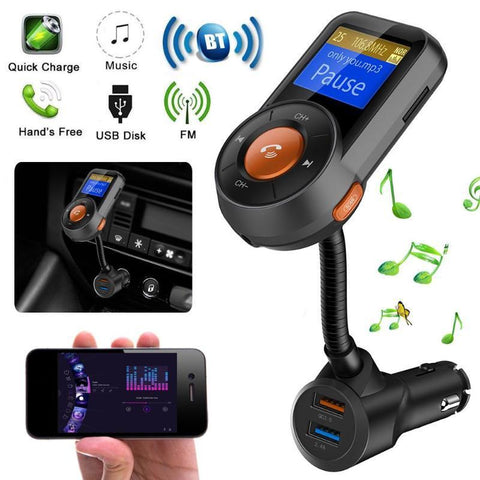 PINkart-USA Online Shopping 1Pcs Bluetooth Hands-Free Call Kit Fm Transmitter Mp3 Player App Car Locator Fm Transmitters Car