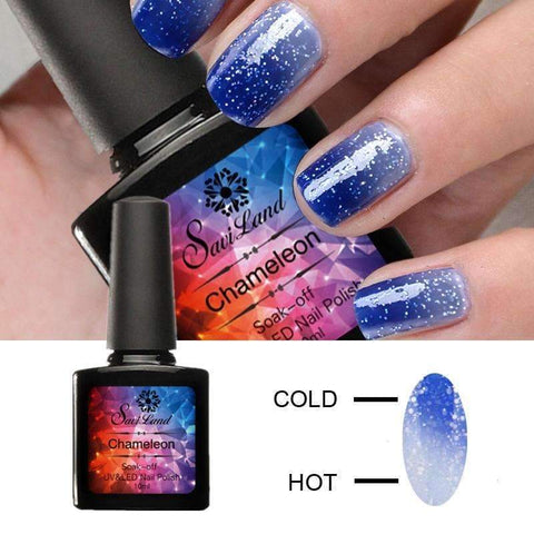 Saviland 1Pcs Color Mood Changing Thermal Gel Varnish 10Ml Long Lasting Temperature Chameleon Soak Off Uv Nail Gel Polish - PINkart.in