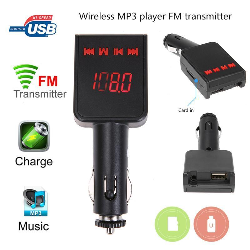 PINkart-USA Online Shopping 1Pcs Lcd Wireless Mp3 Player Car Auto Fm Transmitter Usb Phone Tablet Charger Car Kit Wireless Mp3