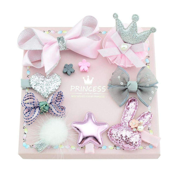 PinKart-USA Online Shopping 1Set 10Pcs Fashion Different Designs Heart Flower Crown Fur Ball Stars Hair Bows With Clip Bow