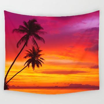 PINkart-USA Online Shopping 2 / 150x130cm Comwarm Cozy Sunset Coastal Natural Scenery Wall Hanging Gobelin Mural Coconut Tree Printed