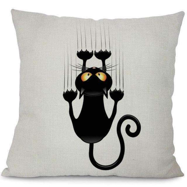 PinKart-USA Online Shopping 2 / 44x44cm No Filling Miracille Square Cotton Linen Black Climbing Cat Animals Printed Decorative Throw Pillows Home Deco
