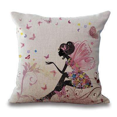 PinKart-USA Online Shopping 2 / 45x45cm Just Cover Square 18 Cotton Linen Decorative Cushions Flower Fairy Bike Butterfly Throw Pillows Sofa Home