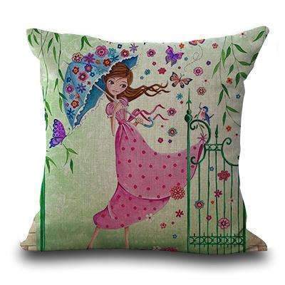 PinKart-USA Online Shopping 2 / 45x45cm Miracille Square 18 Flowers Girls Printed Cartoon Sofa Throw Cushions Butterfly Living Room