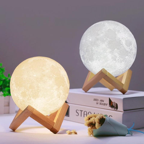 PINkart-USA Online Shopping 2 Colors Changing Touch Switch Night Light Recharge 3D Print Moon Lamp Bedroom Bookcase Stepless
